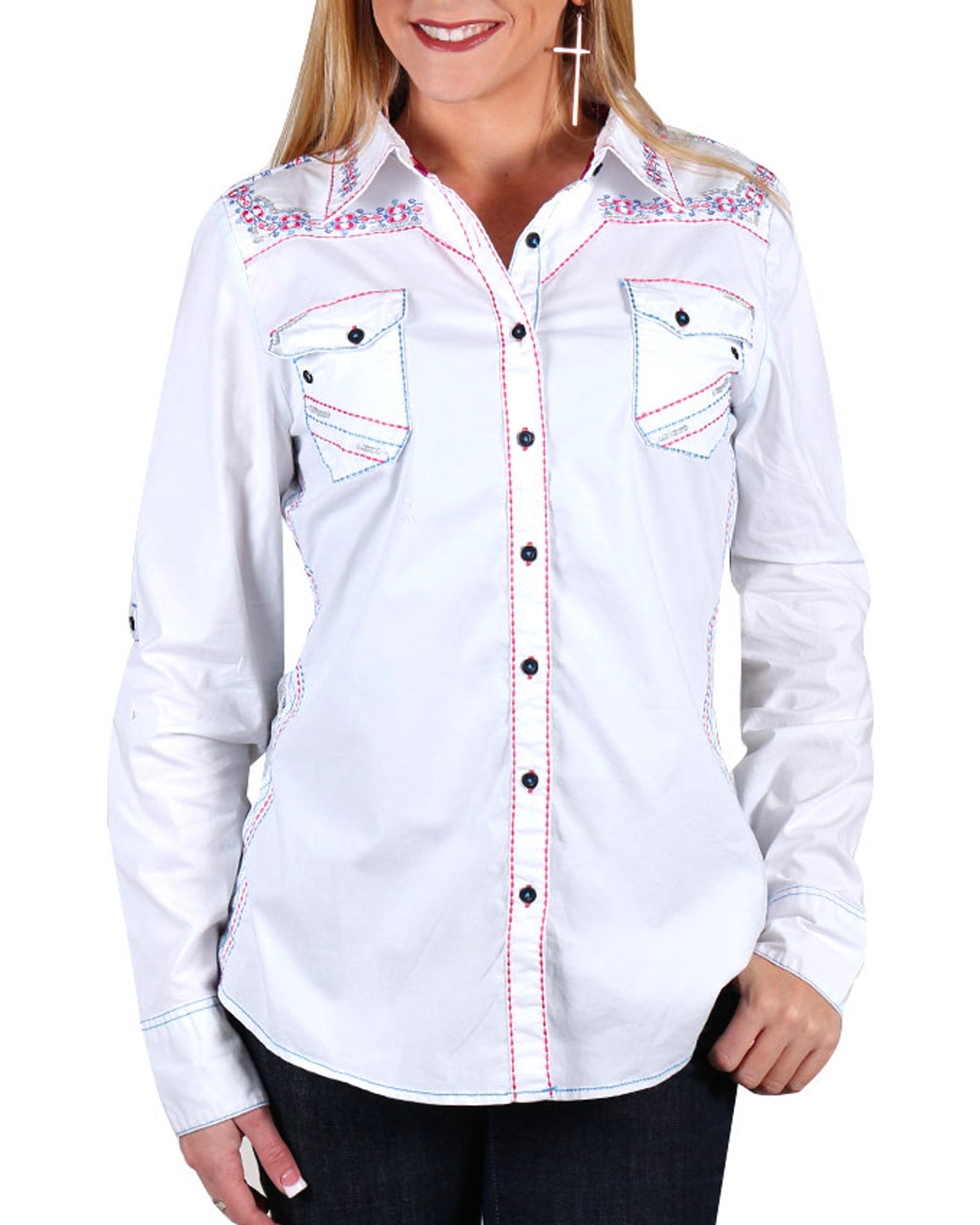Grace In La Womens White Lace Bottom Long Sleeve Shirt Country