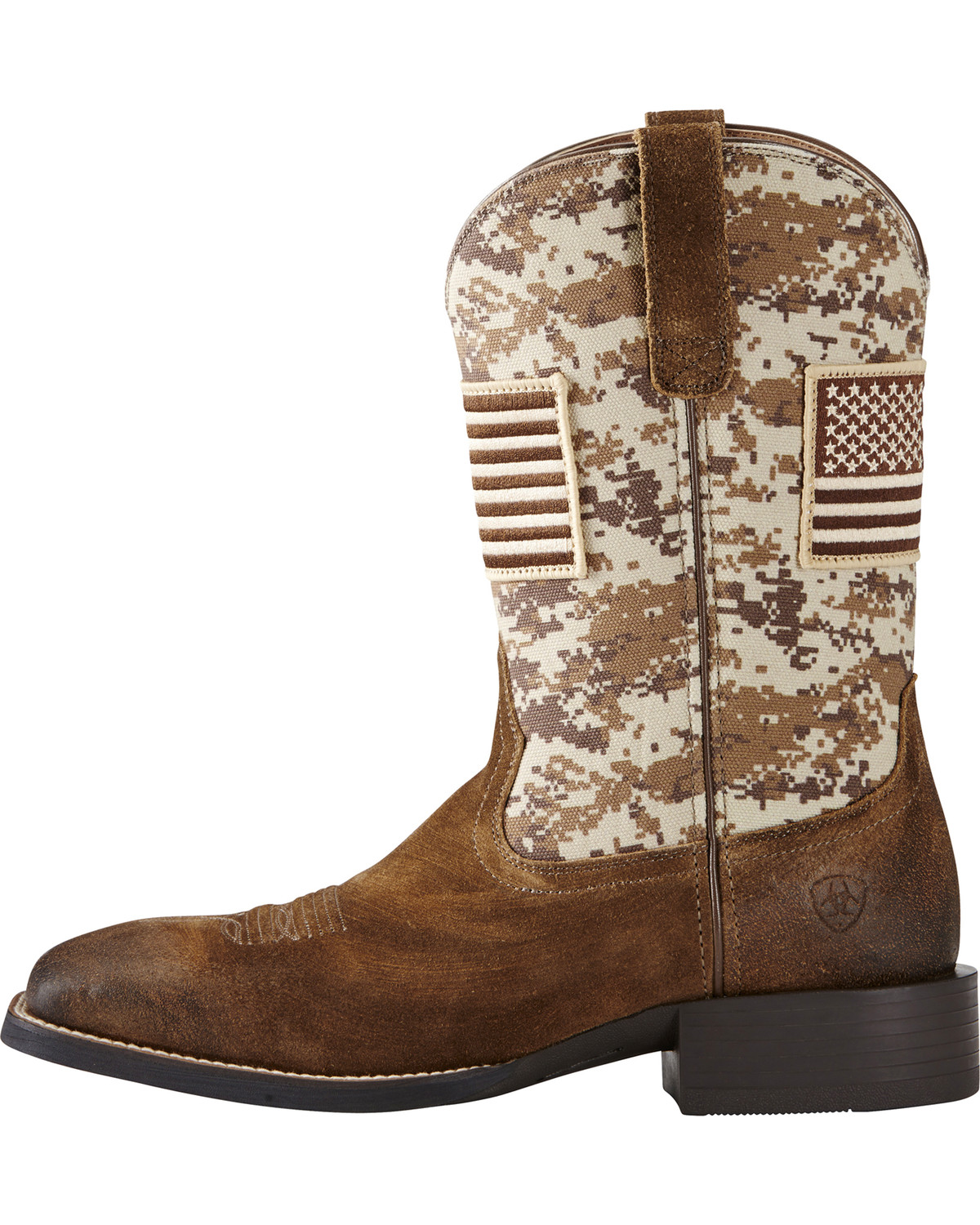 Ariat Men's Brown Camo American Flag Boots - Wide Square Toe ...
