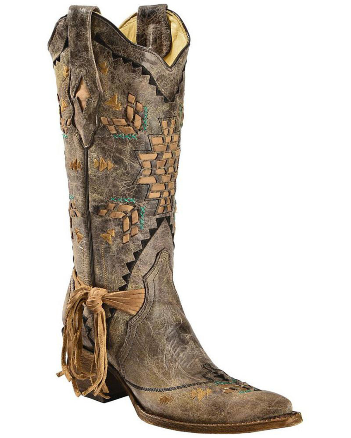 Corral Women's Cango Tobacco Laser Woven Cowgirl Boots ...