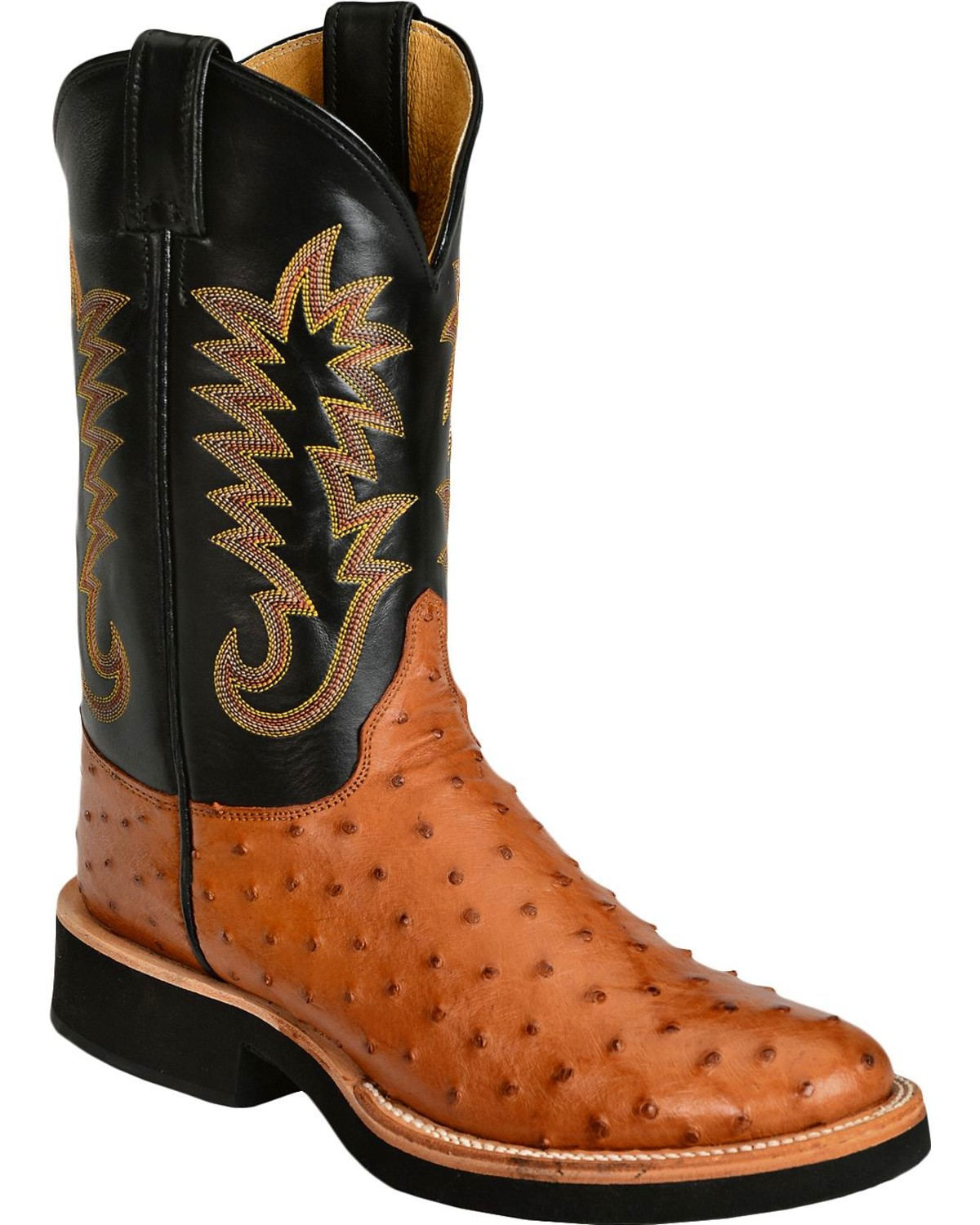 Justin Full Quill Ostrich Cowboy Boots Round Toe