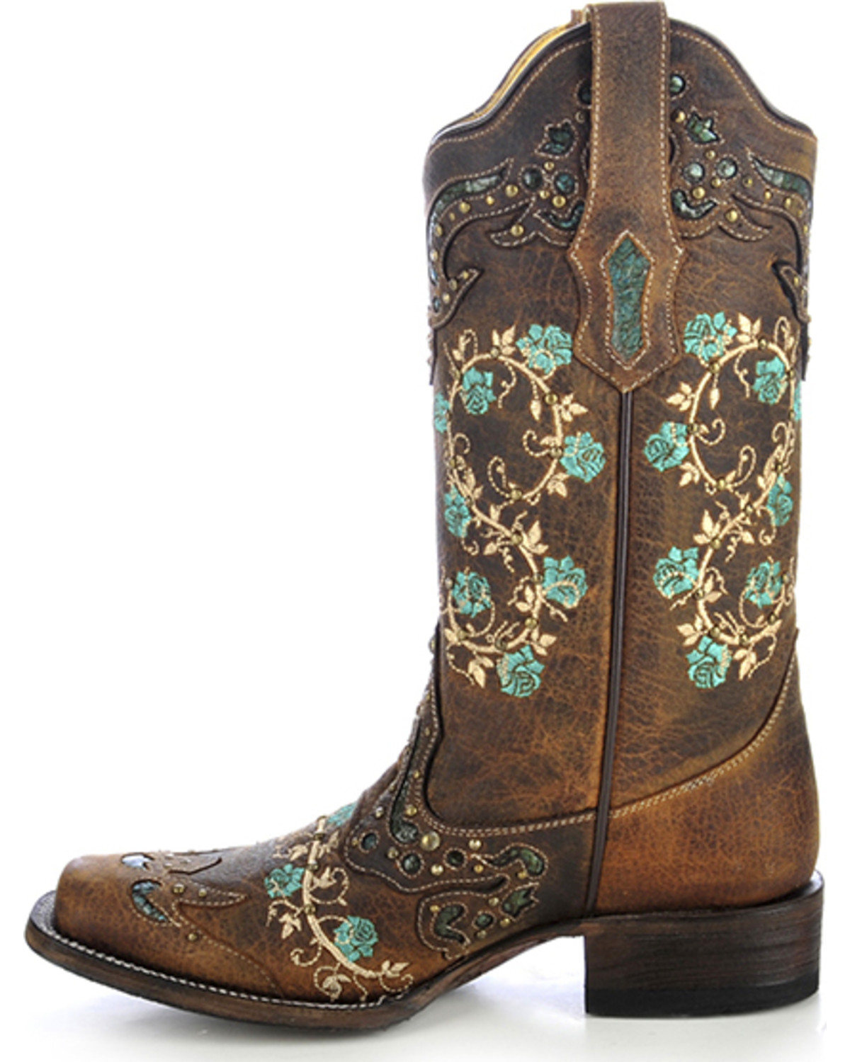 corral women u0026 39 s studded floral embroidery cowgirl boots - square toe