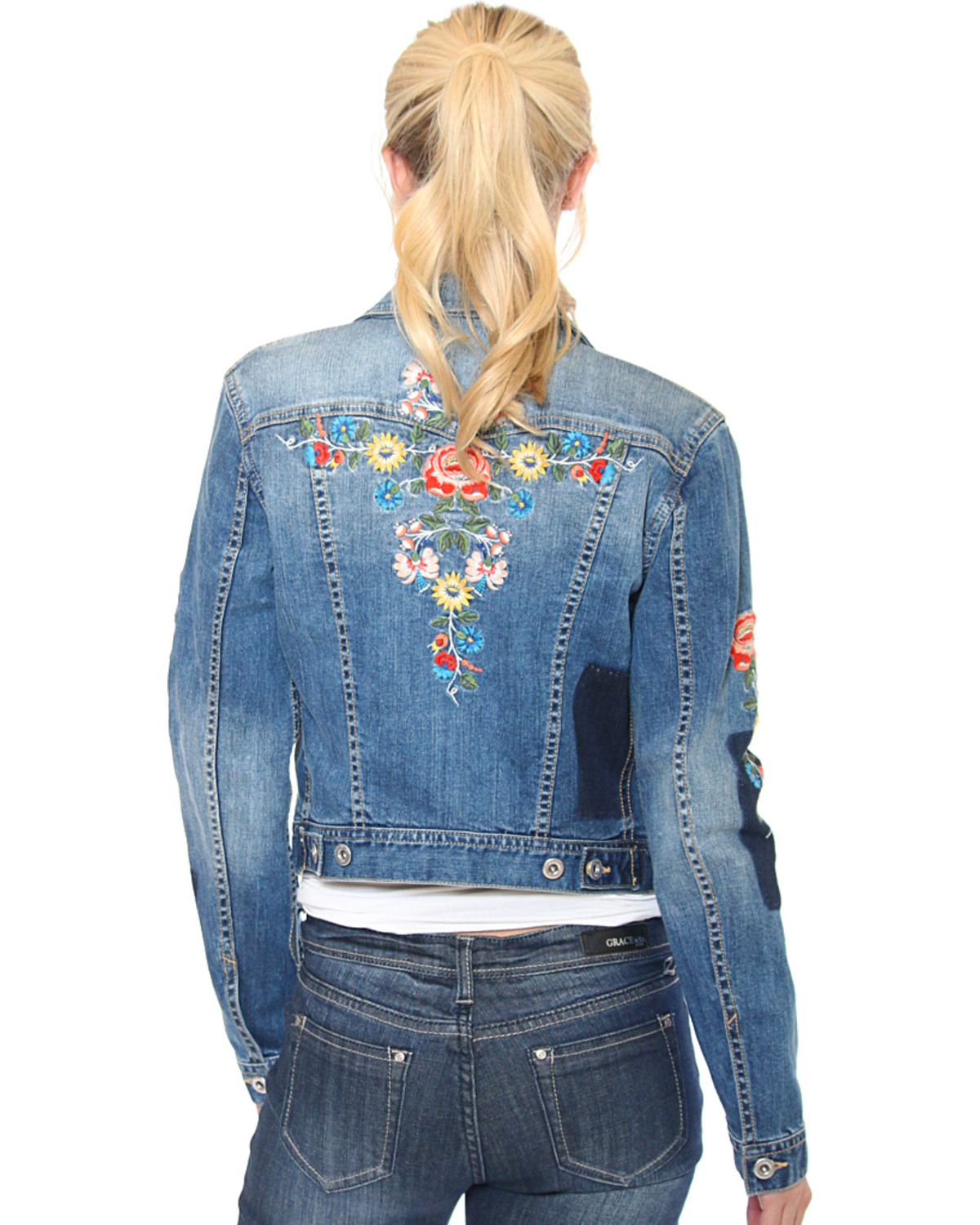 Grace in LA Women s Indigo Floral Embroidered Jean Jacket - Country ... 0c4761749