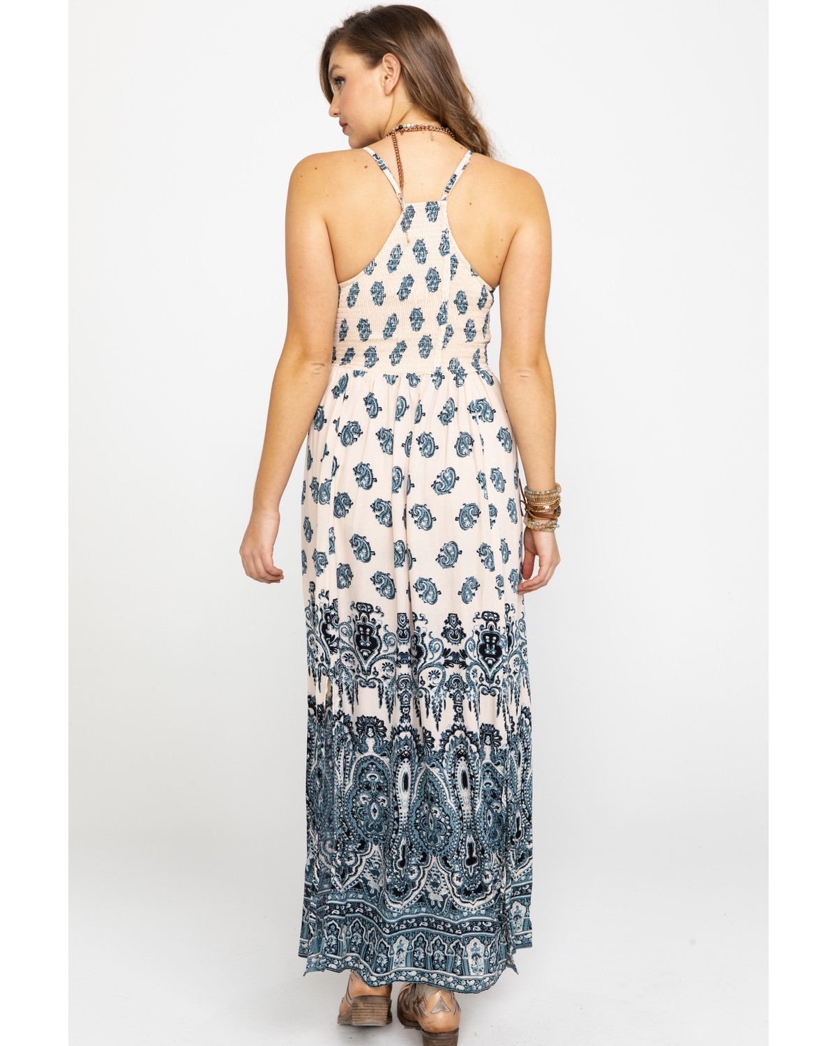 0d3b0fd7e7f Angie Women s Cream   Blue Paisley Print Maxi Dress - Country Outfitter