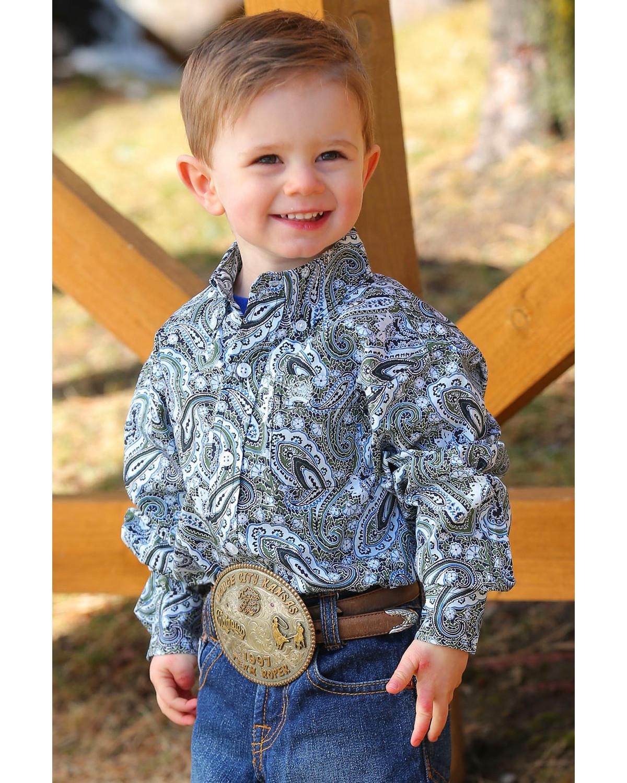 d686fb394 Images. Cinch Infant/Toddler Boys' Paisley Print Button Long Sleeve Western  Shirt ...