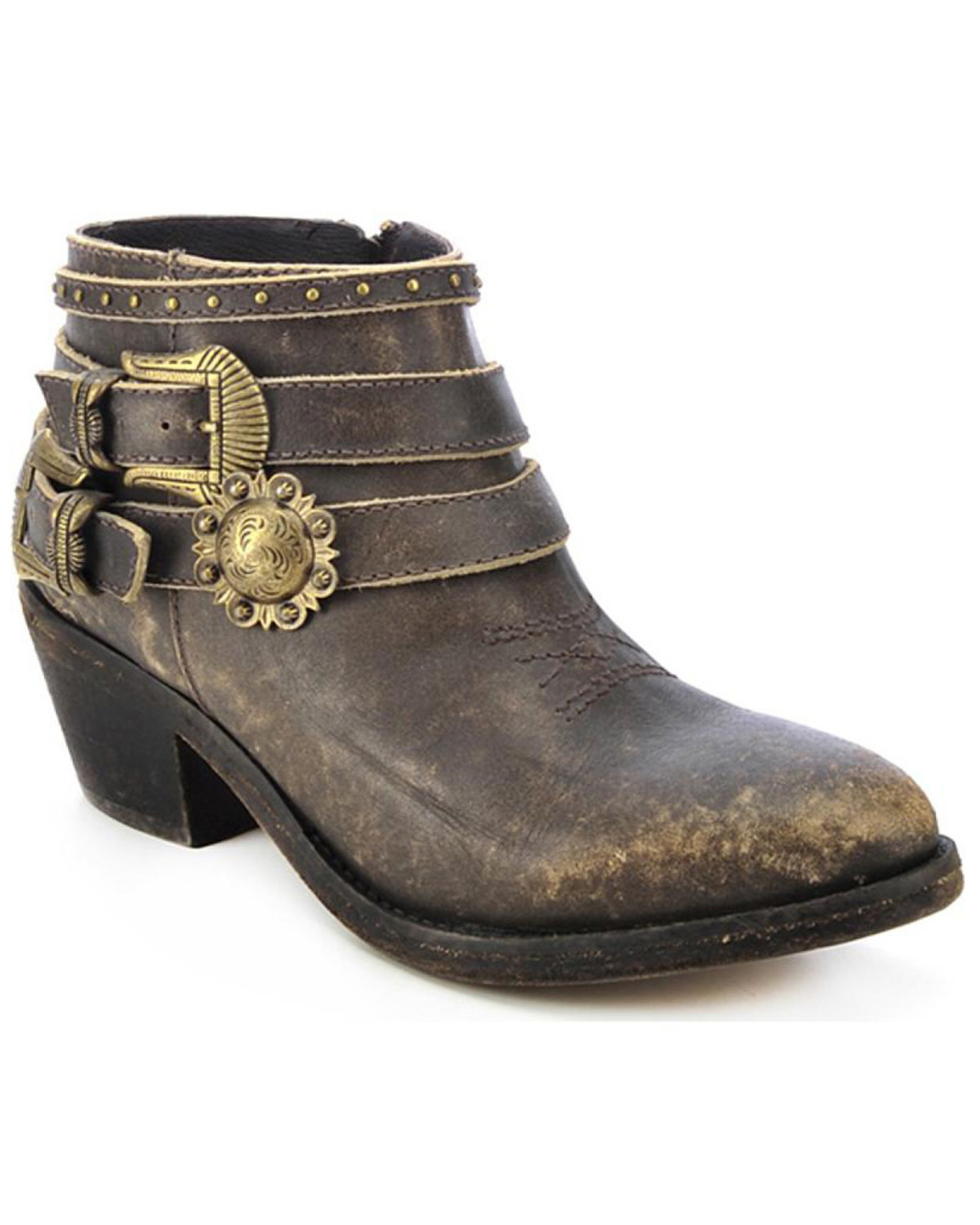 Circle G Women S Diamond Embroidered Cowgirl Boot Square: Circle G Distressed Strap Booties