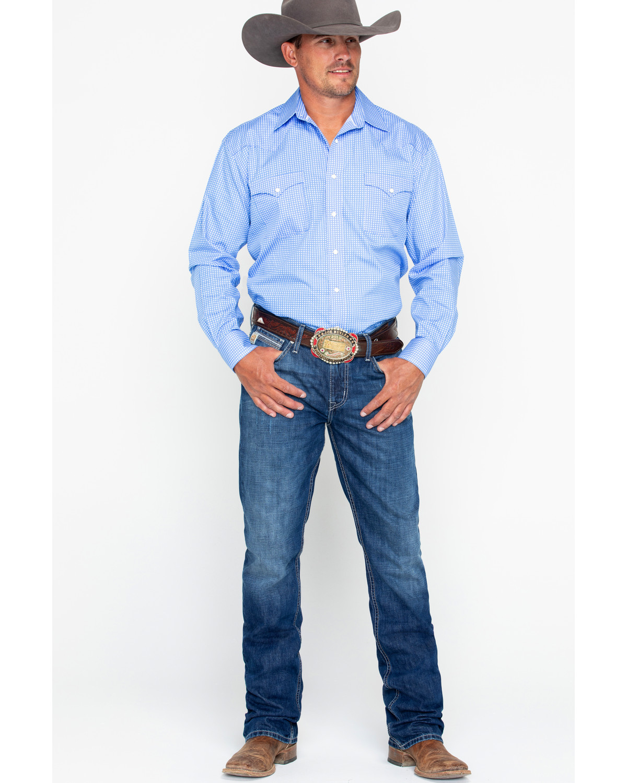 496bb1ff Cinch Men's Ian Dark Stonewash Slim Fit Boot Cut Jeans, Indigo, hi-res