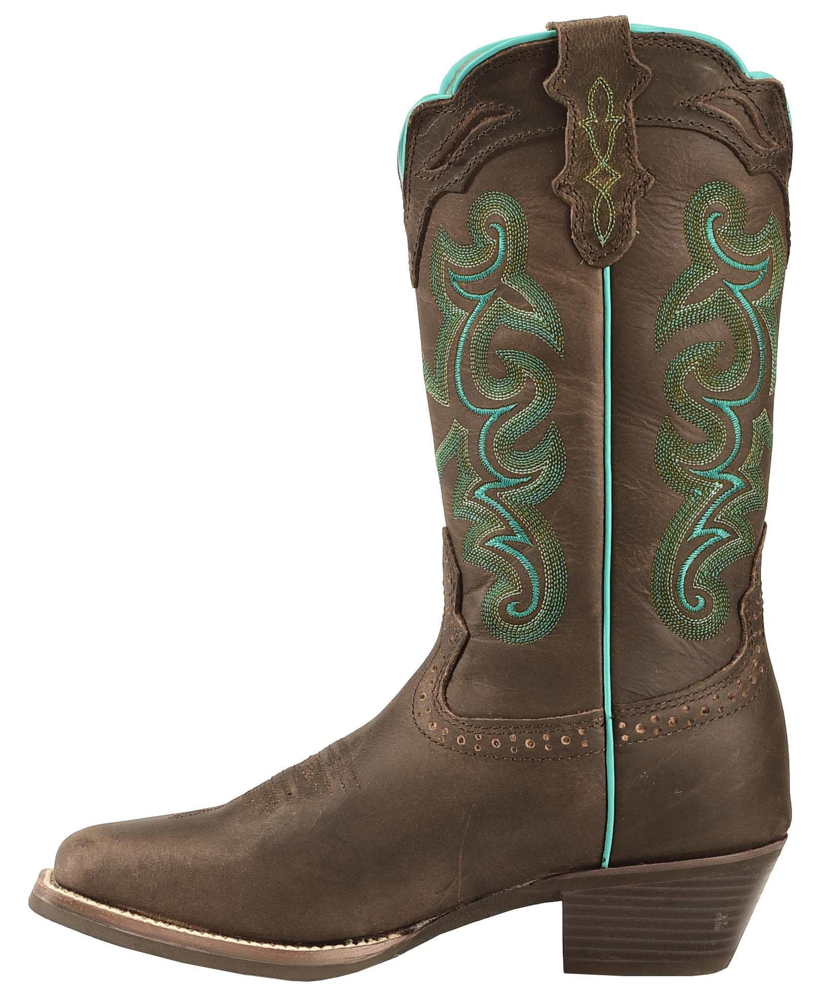 Justin Silver Turquoise Stitched Cowgirl Boots - Square Toe ...