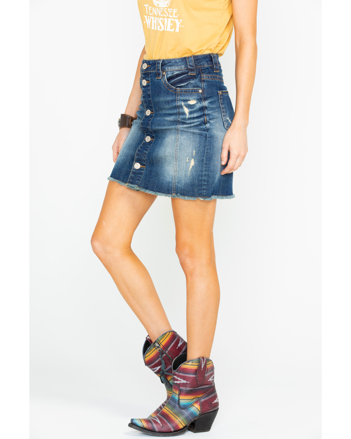 Rock Roll Cowgirl Womens Lowrise Denim Skirt Country Outfitter