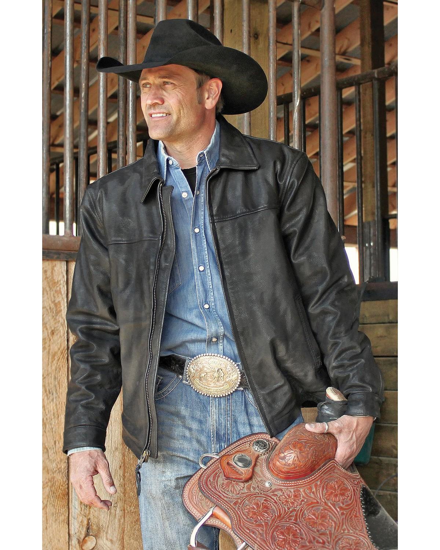 STS Ranchwear Men's Rifleman Black Leather Jacket - Big ...