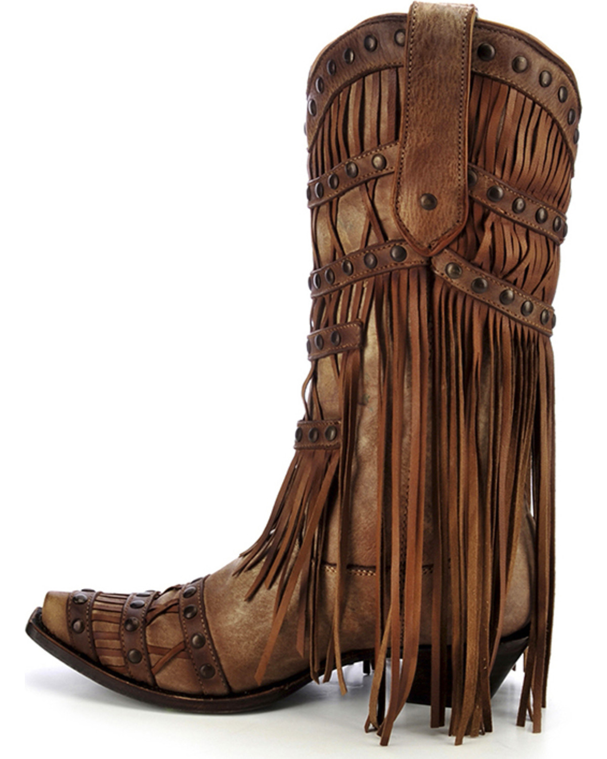 Corral Women S Studded Fringe Cowgirl Boots Snip Toe