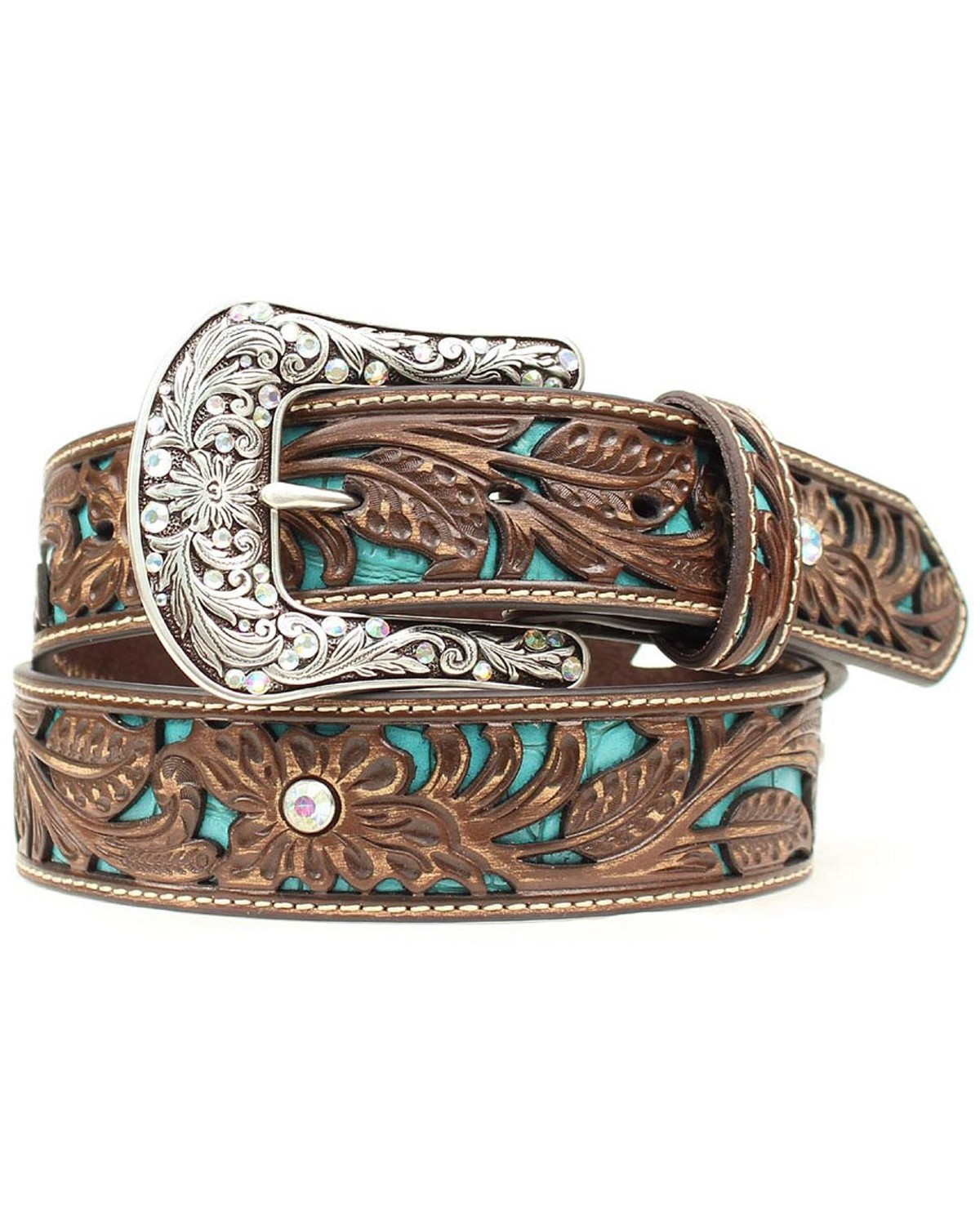 Ariat Tooled Turquoise Leather Inlay Belt Country Outfitter