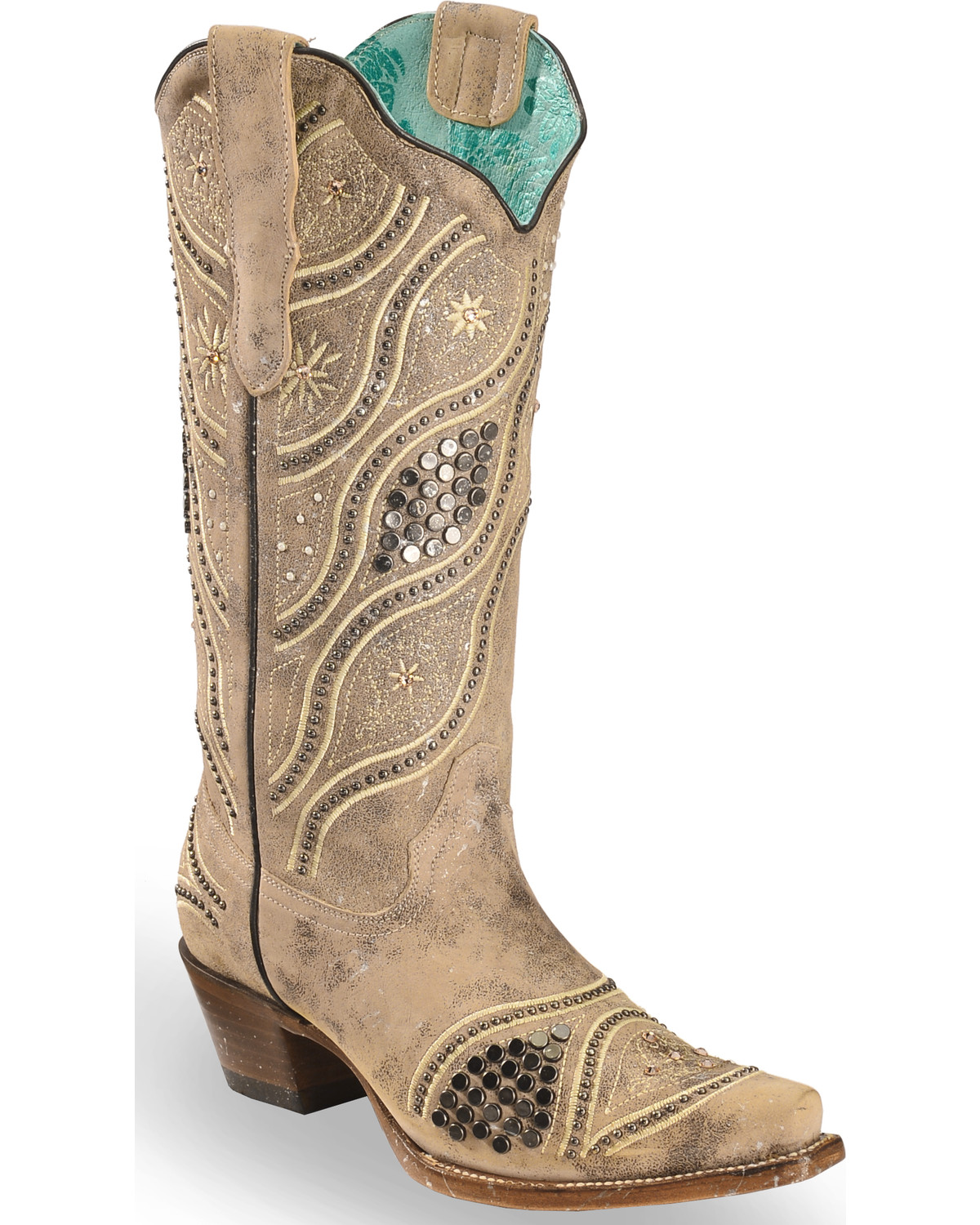 fa3717d6e61 Corral Women s Embroidered Studded Bridal Cowgirl Boots - Snip Toe ...