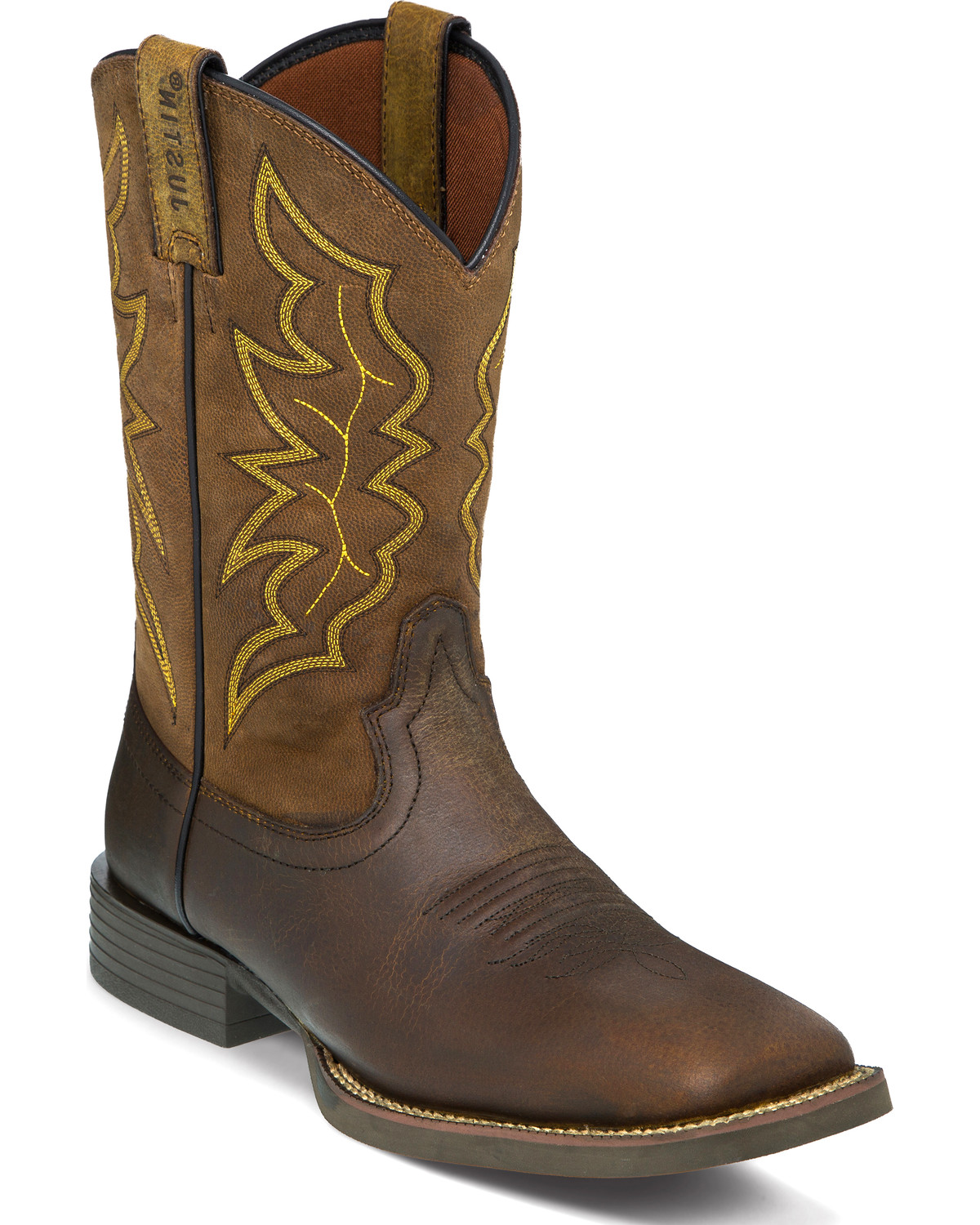 Justin Men S Chet Brown Stampede Cowboy Boots Square Toe Country Outfitter