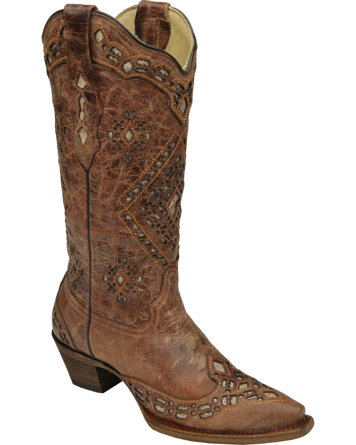 Corral Glitter Inlay Cowgirl Boots Snip Toe Country Outfitter